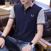 海谜璃男士新款休闲衫短袖t恤修身翻领薄款HB0067