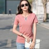 海谜璃早春新款百搭棉短袖t恤女修身显瘦V领T恤HBF1759