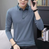 海谜璃新款男装长袖T恤男式翻领纯色修身长袖T恤HBF1218