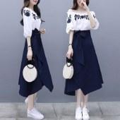 海谜璃新款连衣裙法式复古裙过膝流行裙子套装女春秋刺绣两件套HB8293