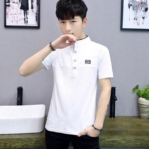 海谜璃短袖T恤男式立领棉质学生半袖修身上衣HB8220