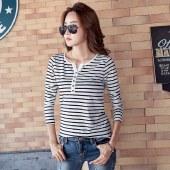 海谜璃春装新款长袖t恤女条纹女式打底衫HBF1229