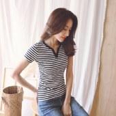 海谜璃大码新款小V领条纹棉短袖t恤女士打底衫上衣HB8022