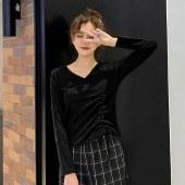 海谜璃初春新款修身长袖T恤女抽绳V领打底衫上衣HBF1762