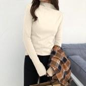 海谜璃新款修身显瘦纯色高领打底衫女HBF2629
