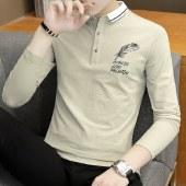 海谜璃秋季新款长袖T恤衫男装翻领学生休闲上衣HB8052