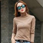 海谜璃新款气质韩版高领宽松长袖t恤女士纯色简约打底上衣HBF2699