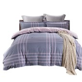 路易卡罗典雅纯棉四件套家纺被套家纺枕套家纺床单被单床上用品 遇见幸福-灰 LK-6234
