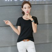 海谜璃新款t恤打底衫纯色短袖t恤女士上衣HB0061