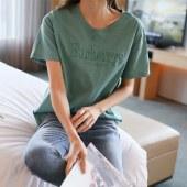 海谜璃棉质刺绣简约字母女式T恤短袖HB8021