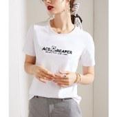 海谜璃短袖t恤女夏季新款女装圆领韩版基础款体恤HBF2724