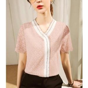 海谜璃新款蕾丝打底衫网纱春装洋气小衫法式蕾丝上衣HBF2729【新品上市】