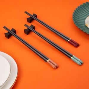 铸派筷子家用家庭高档高端合金筷耐高温高颜值快子轻奢风防滑防霉
