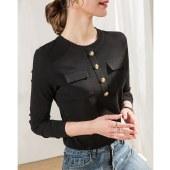 海谜璃春装新款长袖口袋t恤女设计感圆领打底衫修身显瘦白色t恤HBF2731
