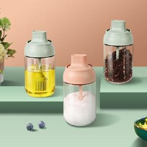 铸派调料罐子盐罐调味盒调料瓶组合套装油壶调味料罐瓶玻璃盒家用【新品上市】