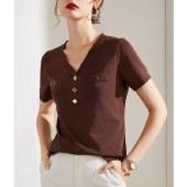海谜璃短袖T恤女装新款内搭V领打底衫棉t白色t恤HBF2727