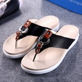 海谜璃平底凉拖时尚夹脚防滑人字拖沙滩鞋罗马女士凉鞋HBX1005