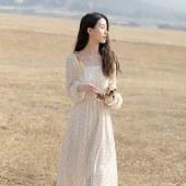 海谜璃新款女装气质温柔风仙女超仙法式雪纺碎花春装长款裙子连衣裙HBF2733