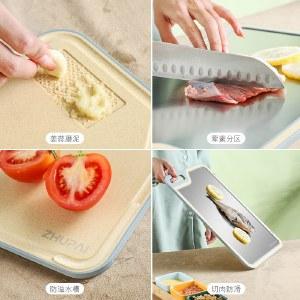 铸派砧板小麦秸秆菜板家用抗菌防霉切菜板双面不锈钢切菜家用砧板