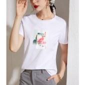 海谜璃韩版棉短袖t恤女字母印花打底衫学生上衣HBF2723
