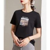 海谜璃圆领内搭印花短袖t恤女韩版宽松白色t恤短袖休闲上衣HBF2725