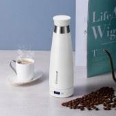 山水真空电热杯保温杯不锈钢电热烧水杯旅行便携式烧水壶加热水杯SZK80F