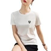 海谜璃国潮女装短袖t恤女宽松生肖牛刺绣打底衫半袖t恤HBF2722