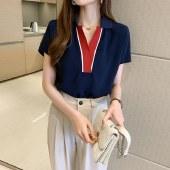 海谜璃套头纯色宽松衬衫短袖V领雪纺衫HBF2738
