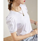 海谜璃短袖t恤女夏季新款纯色半袖体恤褶皱泡泡袖设计感上衣HBF2747