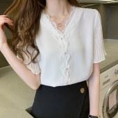 海谜璃短袖雪纺衫女蕾丝V领上衣夏季气质时尚洋气小衫HBF2744