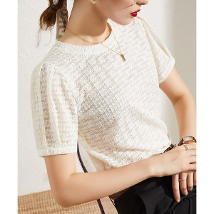 海谜璃新款短袖蕾丝衫女打底衫洋气镂空仙气泡泡袖小衫HBF2748