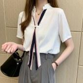 海谜璃雪纺衬衫女复古港味短袖时尚小众蝴蝶结系带上衣HBF2741