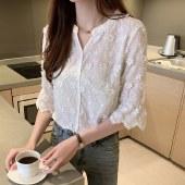海谜璃女士衬衫夏装新款绣花白色衬衣喇叭袖仙气少女上衣HBF2740