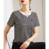 海谜璃黑白条纹短袖t恤女夏装新款显瘦圆领打底衫HBF2756