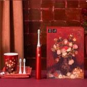 素士声波电动牙刷成人美白情侣清洁声波震动牙刷麦田群鸦、翠竹与唐菖蒲红X3U