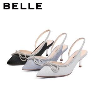 百丽Belle尖头高跟凉鞋 女夏商场新款仙女风凉鞋包头女鞋BSCJ3BH1