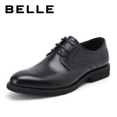 百丽Belle内增高商务休闲皮鞋 男牛皮黑色鞋婚鞋大码皮鞋10822CM8