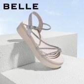 百丽Belle厚底凉鞋 女夏新商场同款时尚休闲度假风W4H1DBL1