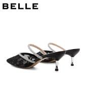 百丽Belle仙女包头凉鞋 女夏新商场同款蕾丝水钻拖鞋外穿BSCW8BH1