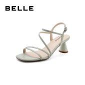 百丽Belle优雅罗马凉鞋 女夏新商场同款舒适中粗跟高跟鞋3ND37BL1
