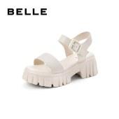 百丽Belle厚底凉鞋 女新款夏商场同款牛皮革休闲凉鞋W4X1DBL1