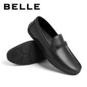 百丽Belle休闲乐福鞋 男新款牛皮革男简约商务套脚乐福鞋6YV11CM0