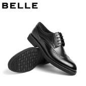 百丽Belle商务正装鞋 男春夏新商场同款牛皮布洛克雕花皮鞋7AC01DM0