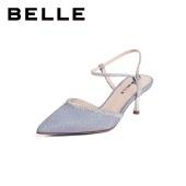 百丽Belle高跟亮片凉鞋 女夏商场新款尖头通勤细高跟凉鞋BSCJ5BH1