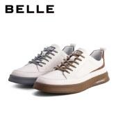 百丽Belle低帮板鞋 男春新商场同款牛皮革小白休闲鞋7CG01AM1