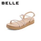 百丽Belle休闲度假风凉鞋 女夏新商场同款羊皮革时尚凉鞋W4N2DBL1