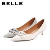 百丽Belle尖头单鞋 女秋新款商场同款牛皮革温柔细跟鞋W7T1DCQ1