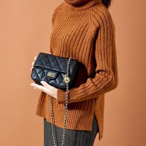 海谜璃牛皮小香风金球包包女新款潮女包百搭菱格链条包单肩斜挎包女HBB0135