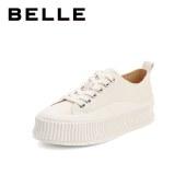 百丽Belle张小斐同款饼干纹帆布鞋 女春新款厚底低帮休闲饼干板鞋99112AM1