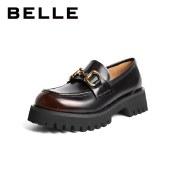 百丽Belle厚底乐福鞋 女春新商场同款牛皮革英伦小皮鞋3HH21AA1